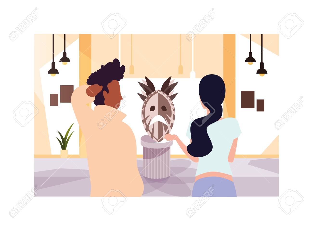 couple of people in contemporary art gallery, exhibition visitors viewing modern abstract paintings vector illustration design - 154577864