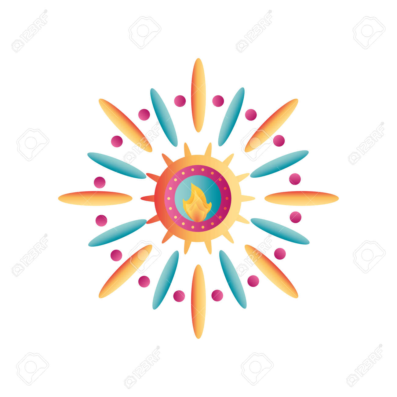 festival of lights, candle flame in white background vector illustration design - 156510021