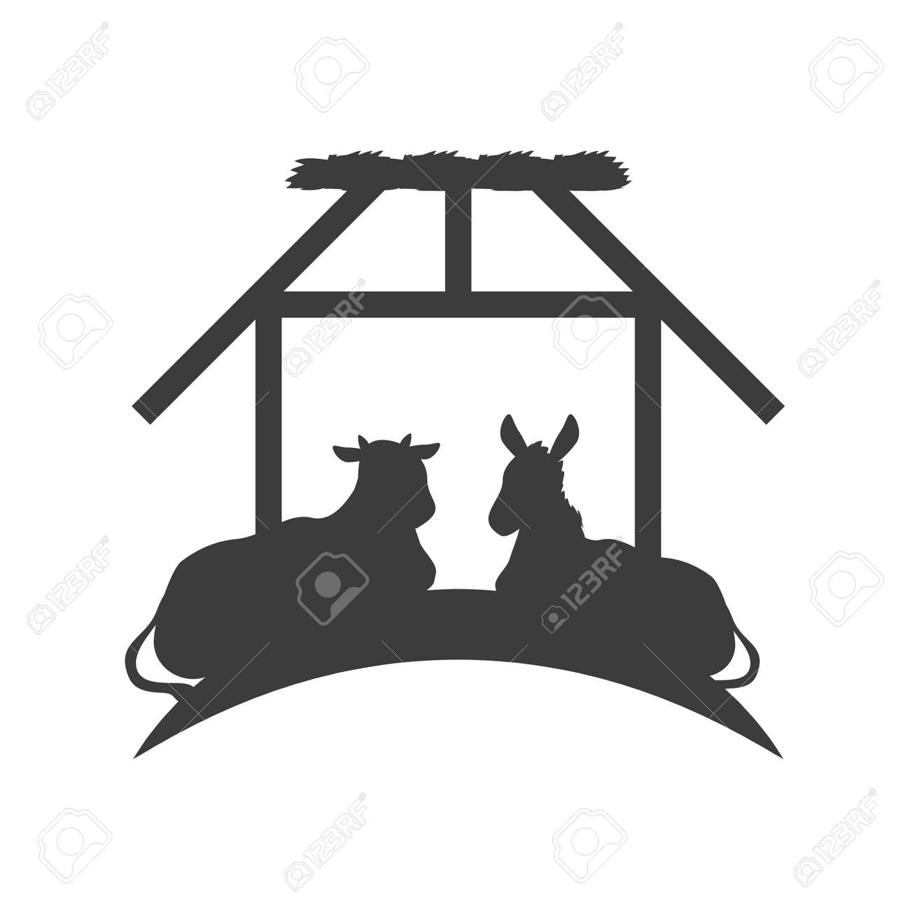 ox and donkey animals in the stable silhouette vector illustration silhouette - 157144317