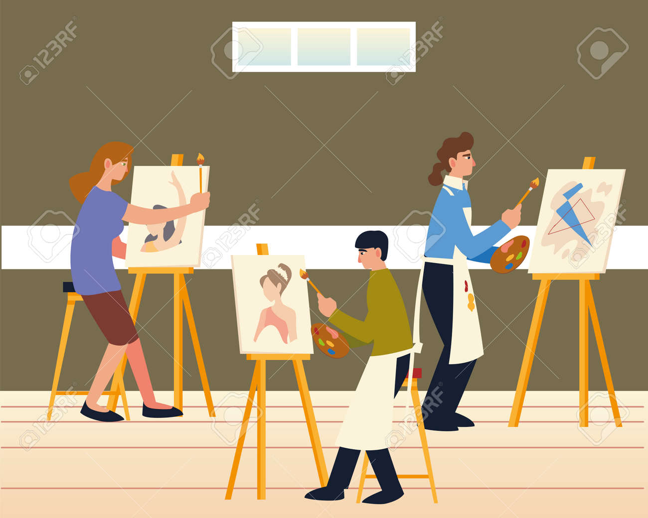 paint class, men and woman painting on canvas at easel - 162618154