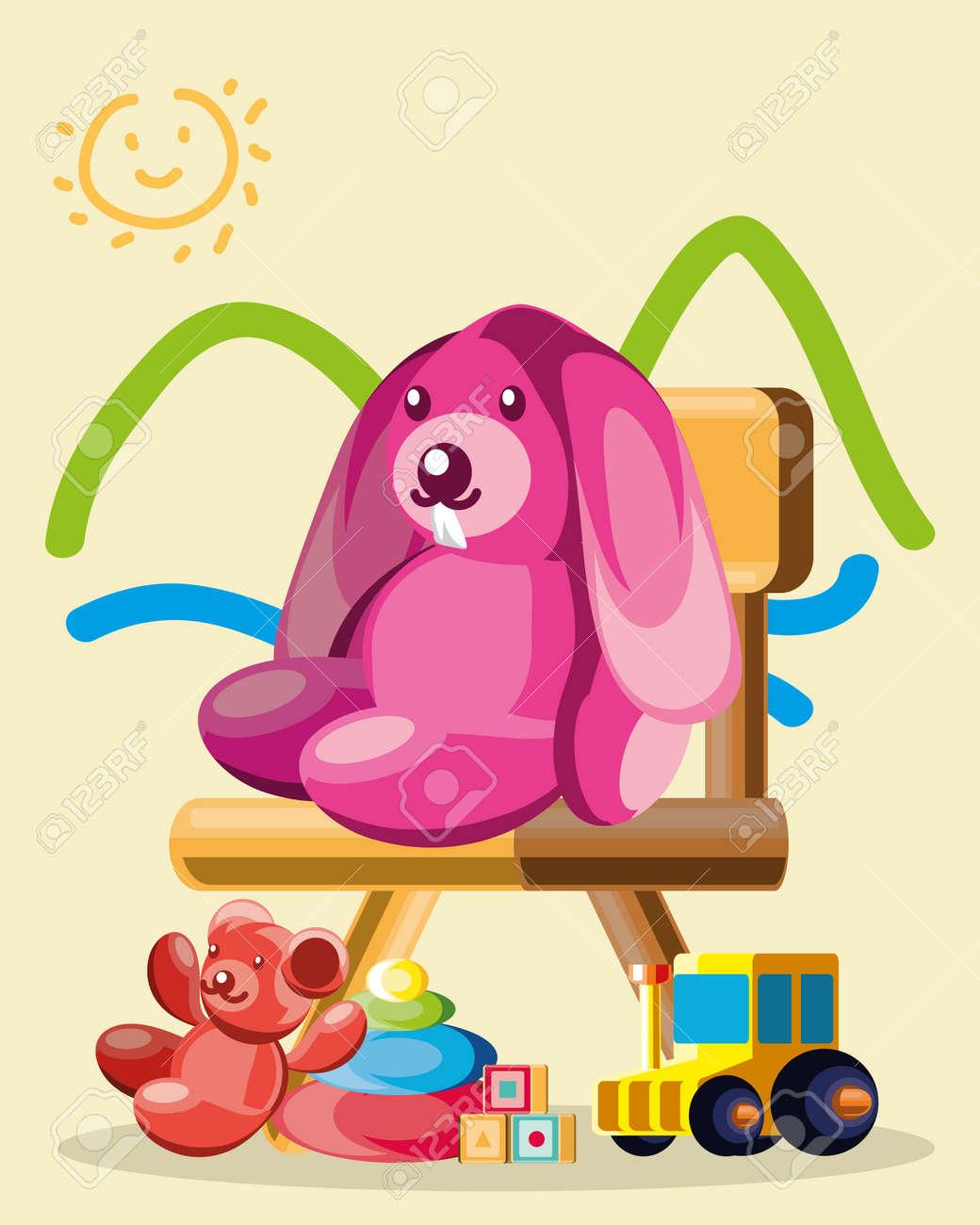 toys drawing bunny bear chair - 166449099