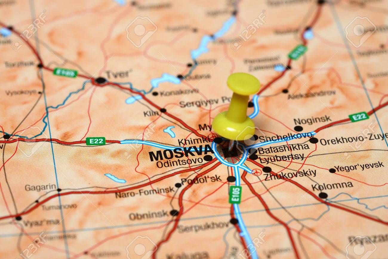 Moscow Pinned On A Map Of Europe Stock Photo Picture And Royalty