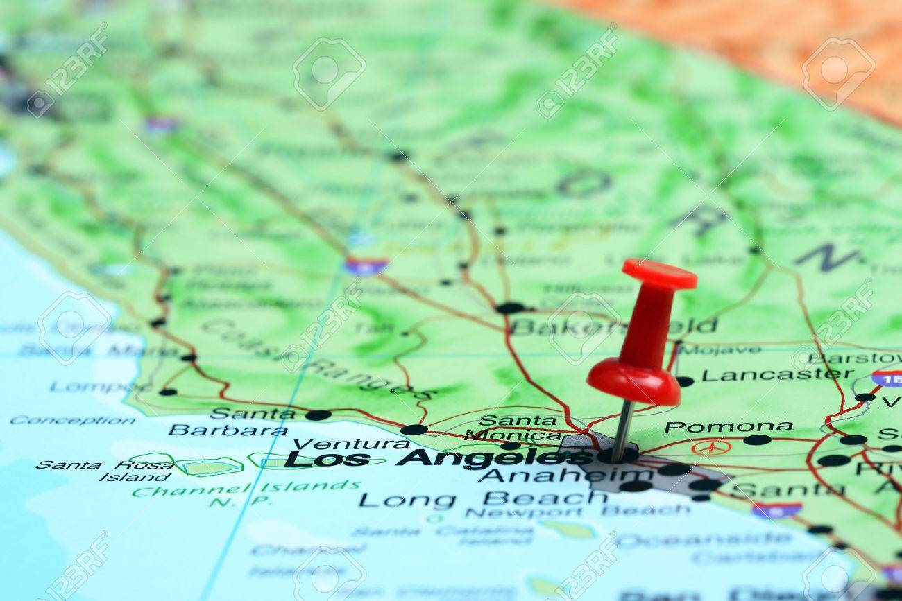 los angeles pinned on a map of usa stock po 42228815
