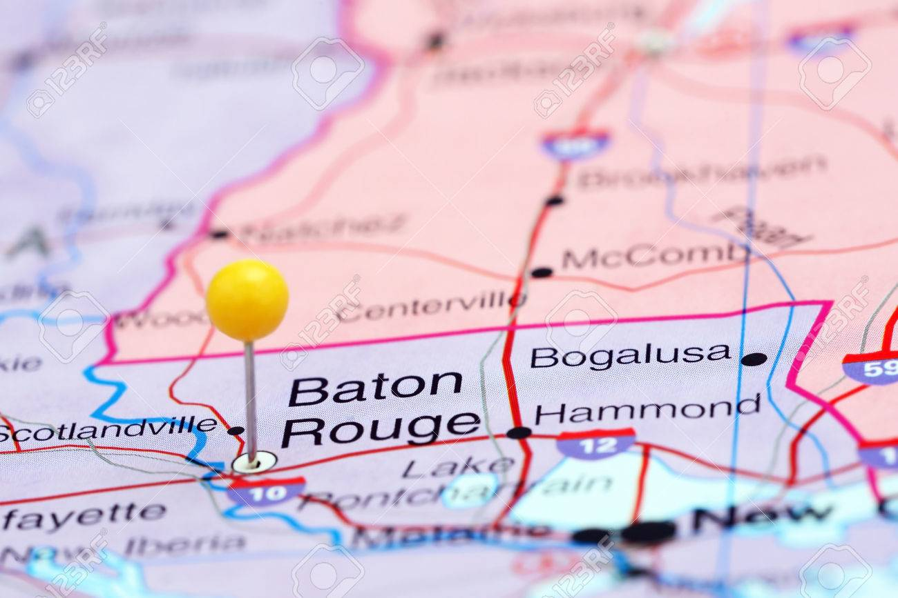 Baton Rouge Pinned On A Map Of Usa Stock Photo Picture And Baton Rouge Usa
