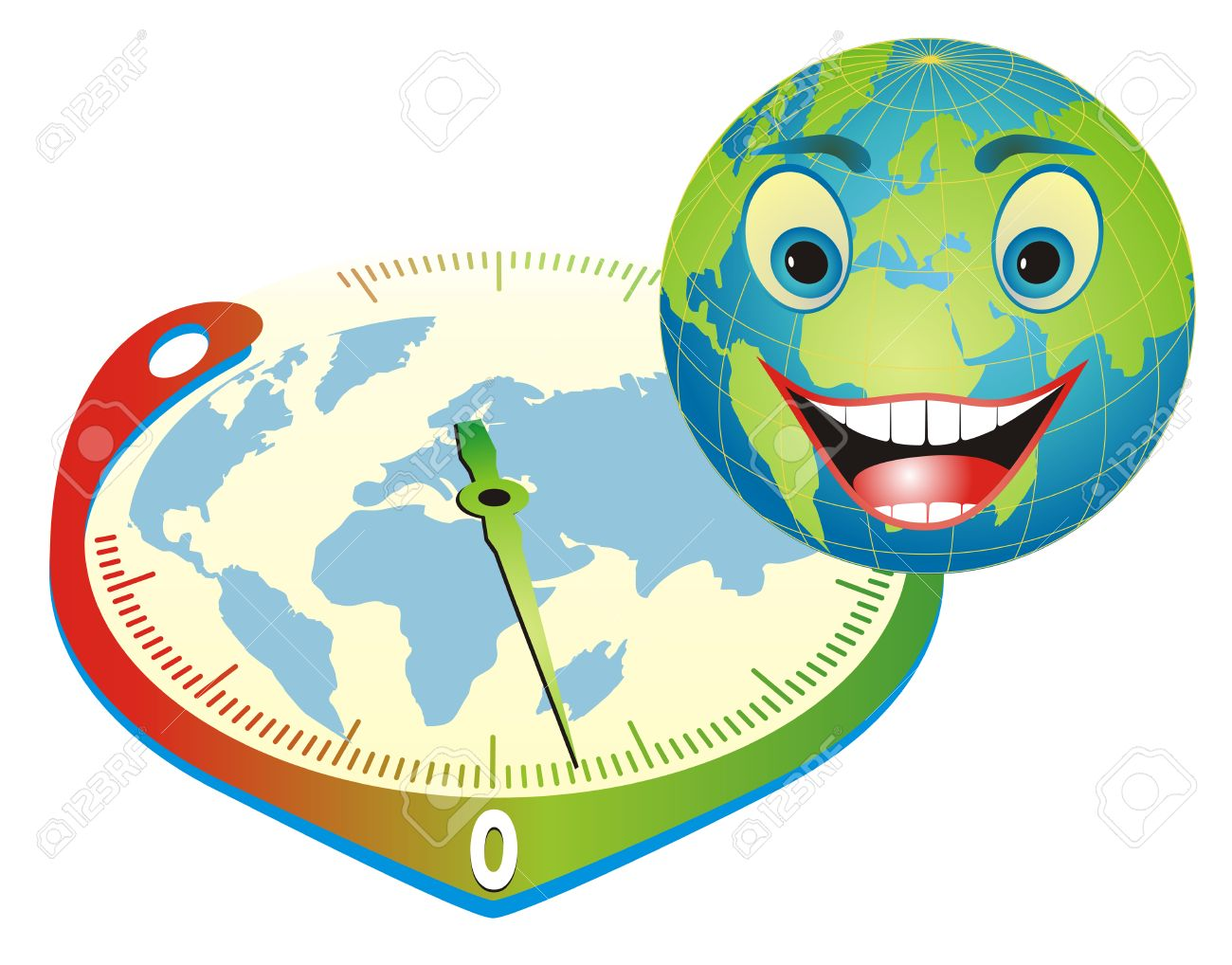 Cartoon illustration with happy globe and thermometer in clock form depicting the right way to save our planet. Stock Vector - 4745891