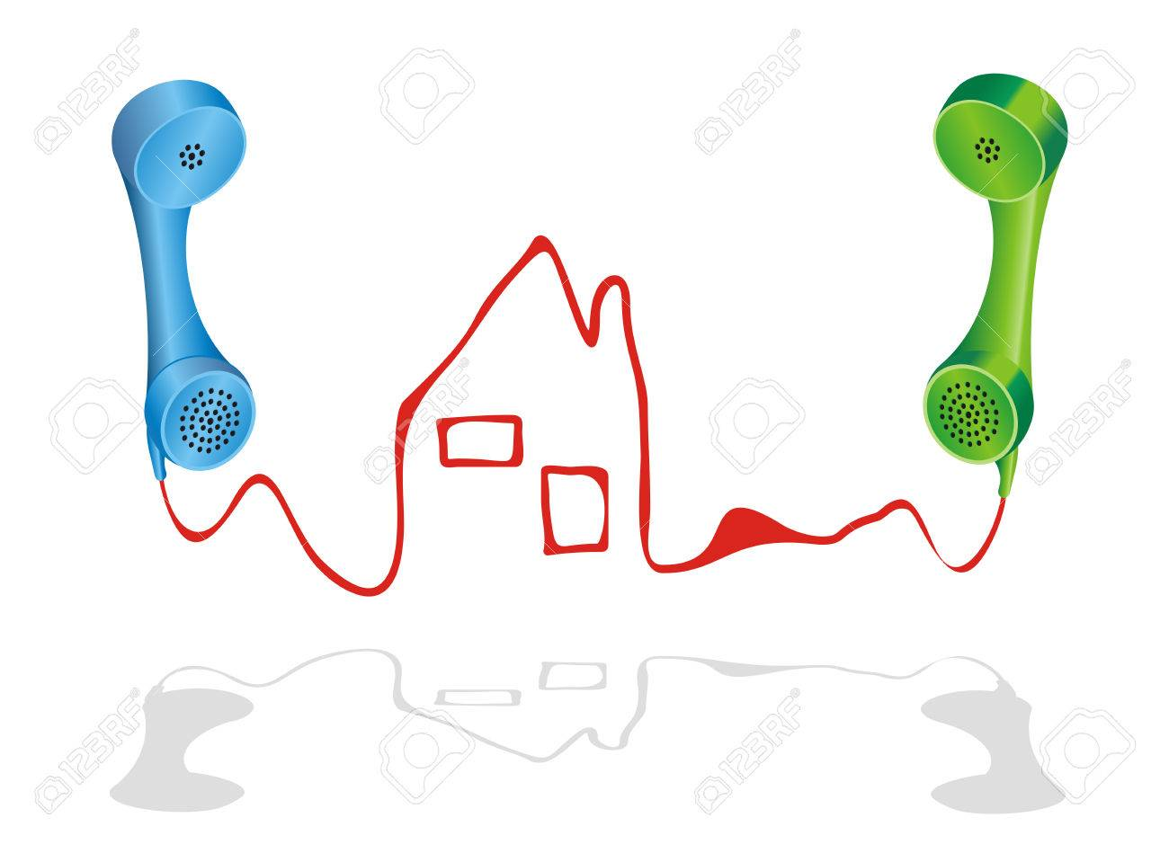 Vector Illustration With Two Phone Receivers And A House Symbol