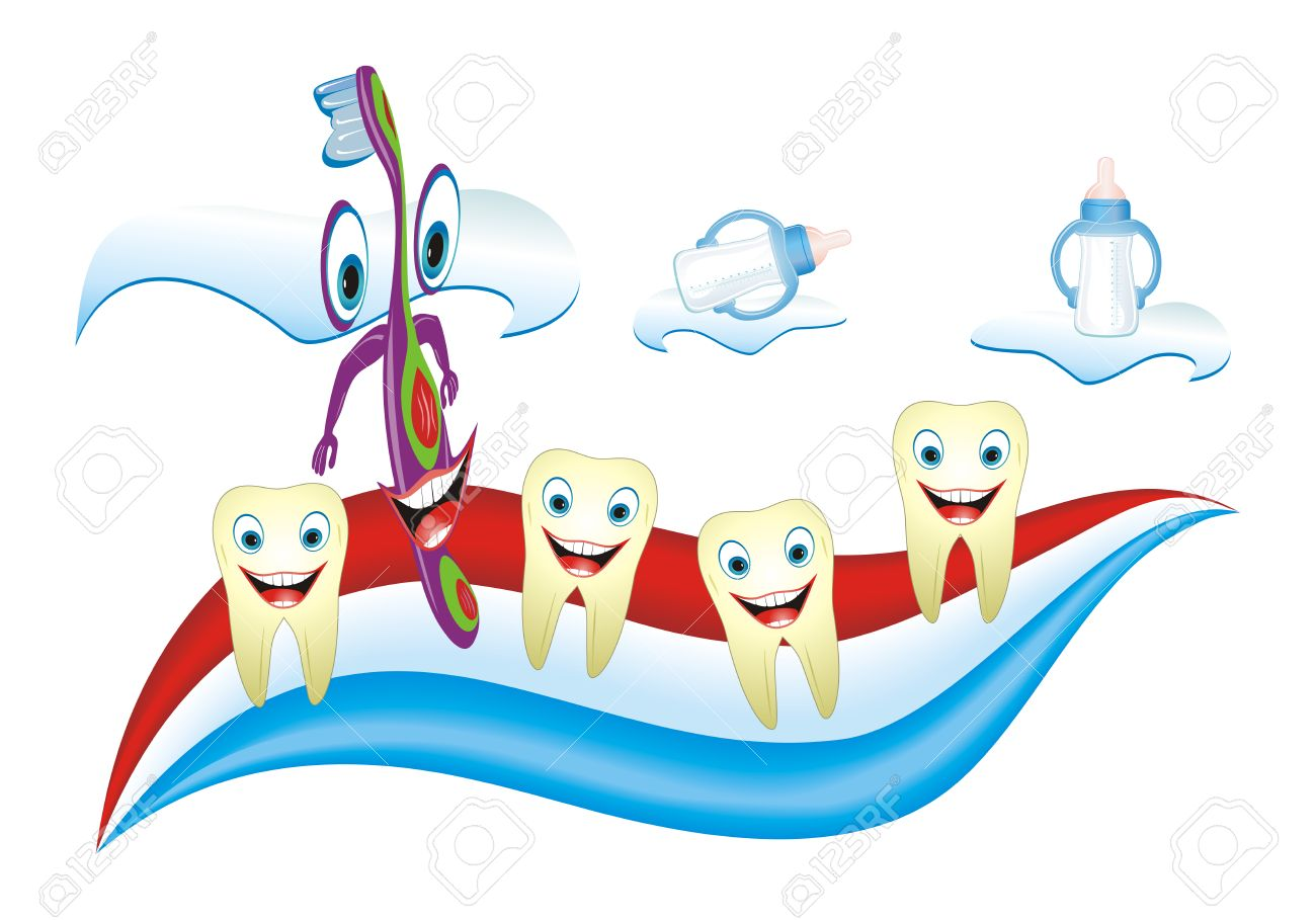 Cartoon illustration from teeth care concept, funny calf's teeth and teacher placed on toothpaste. Stock Vector - 4857362