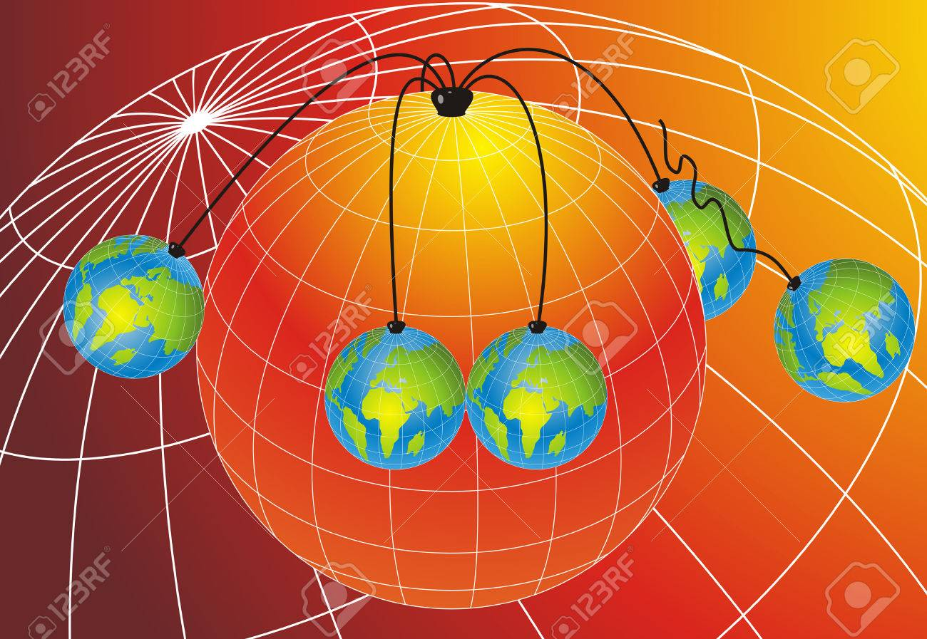 Abstract background with five small world globes hanging from one Big world globe Stock Vector - 5369477