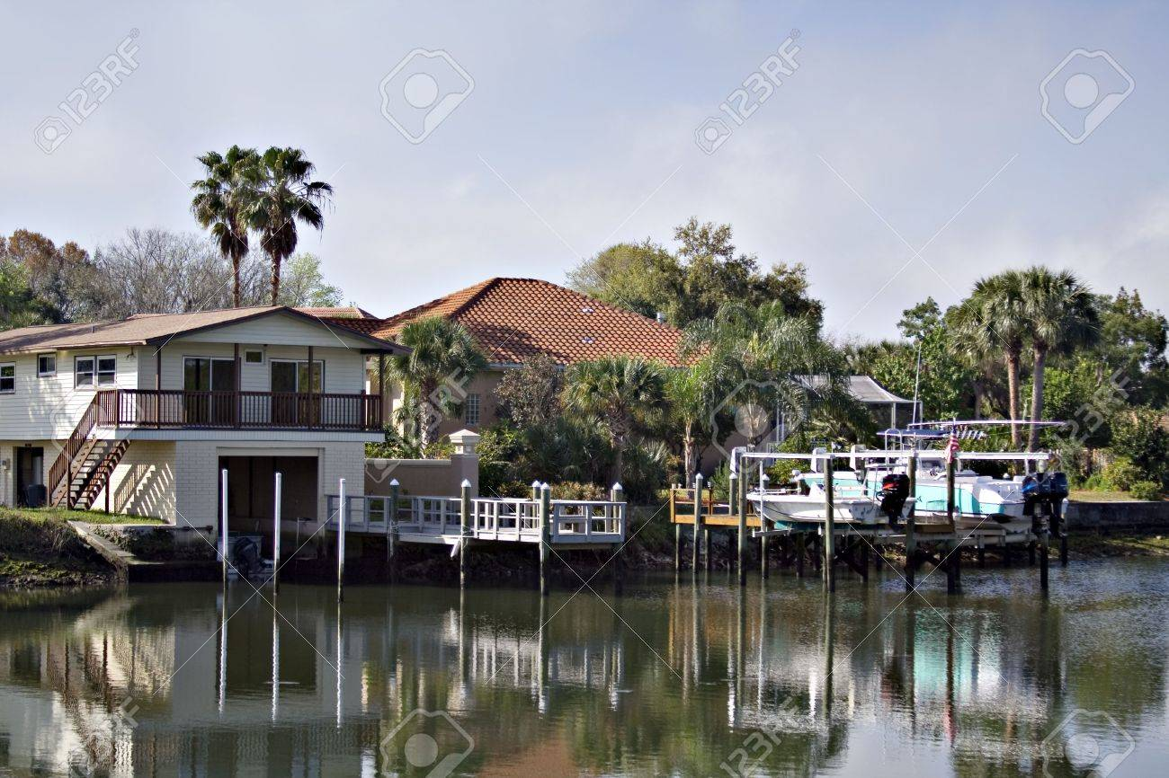 florida homes along a waterway boats and docks are in the