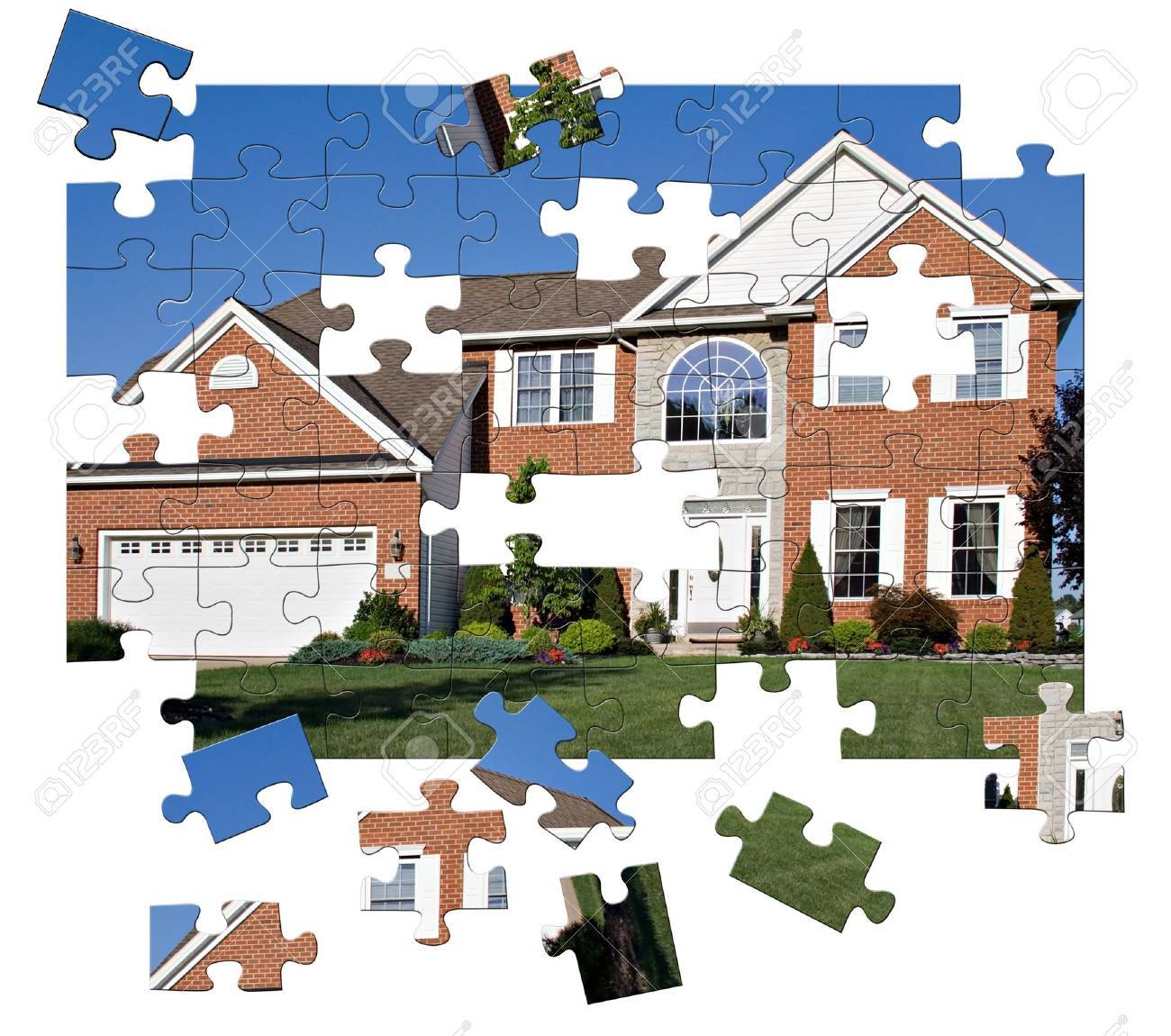 Concept - House Puzzle. Brick and stone colonial home in the suburbs. Stock Photo - 838837