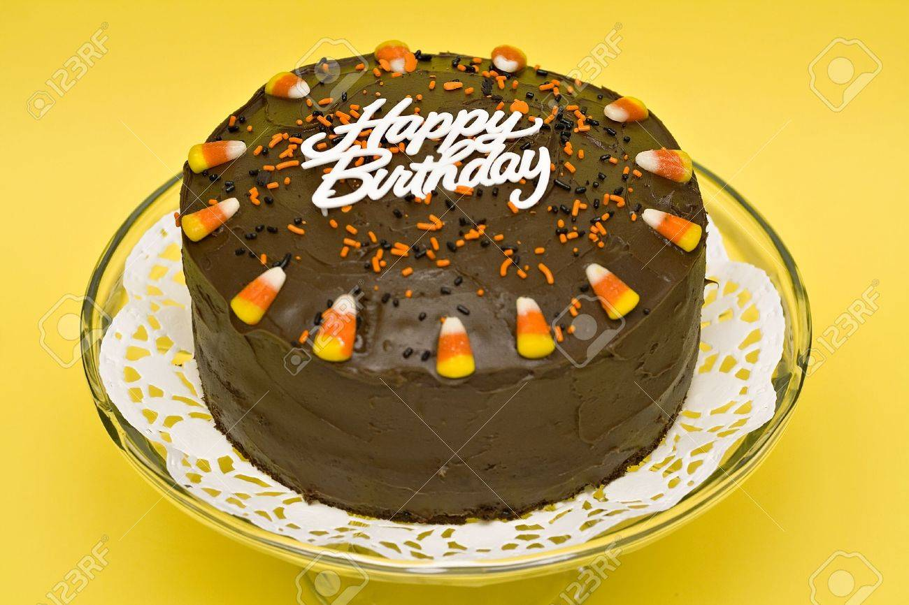 Fall Chocolate Birthday Cake With Candle Sprinkles And Candy
