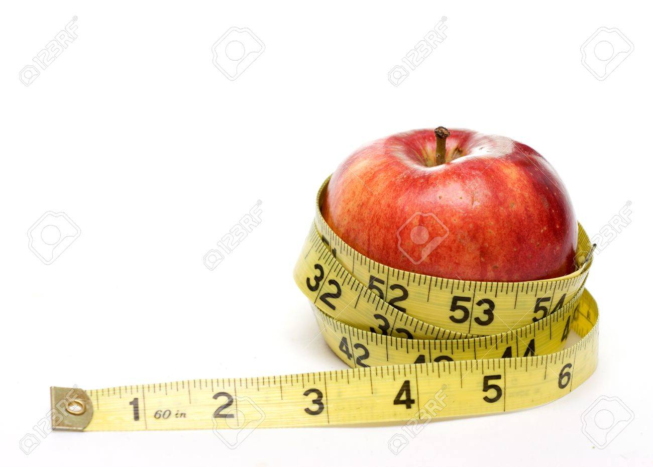 Red apple and measuring tape isolated on white background - diet, health concept. Stock Photo - 4146864