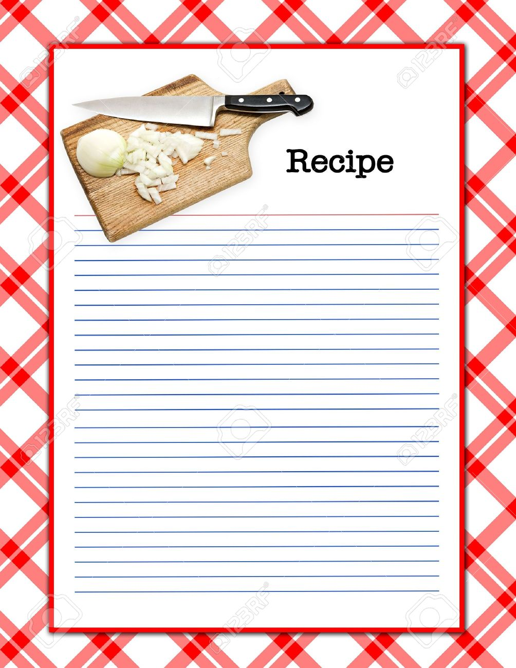 a red white recipe layout matching background menu page stock