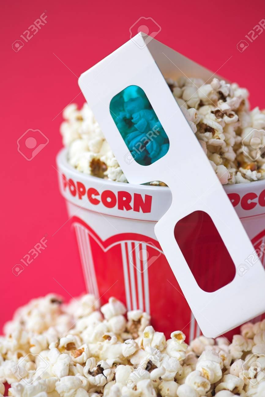 3D glasses & a bucket of popcorn - 3D cinema concept, shallow dof Stock Photo - 6503341