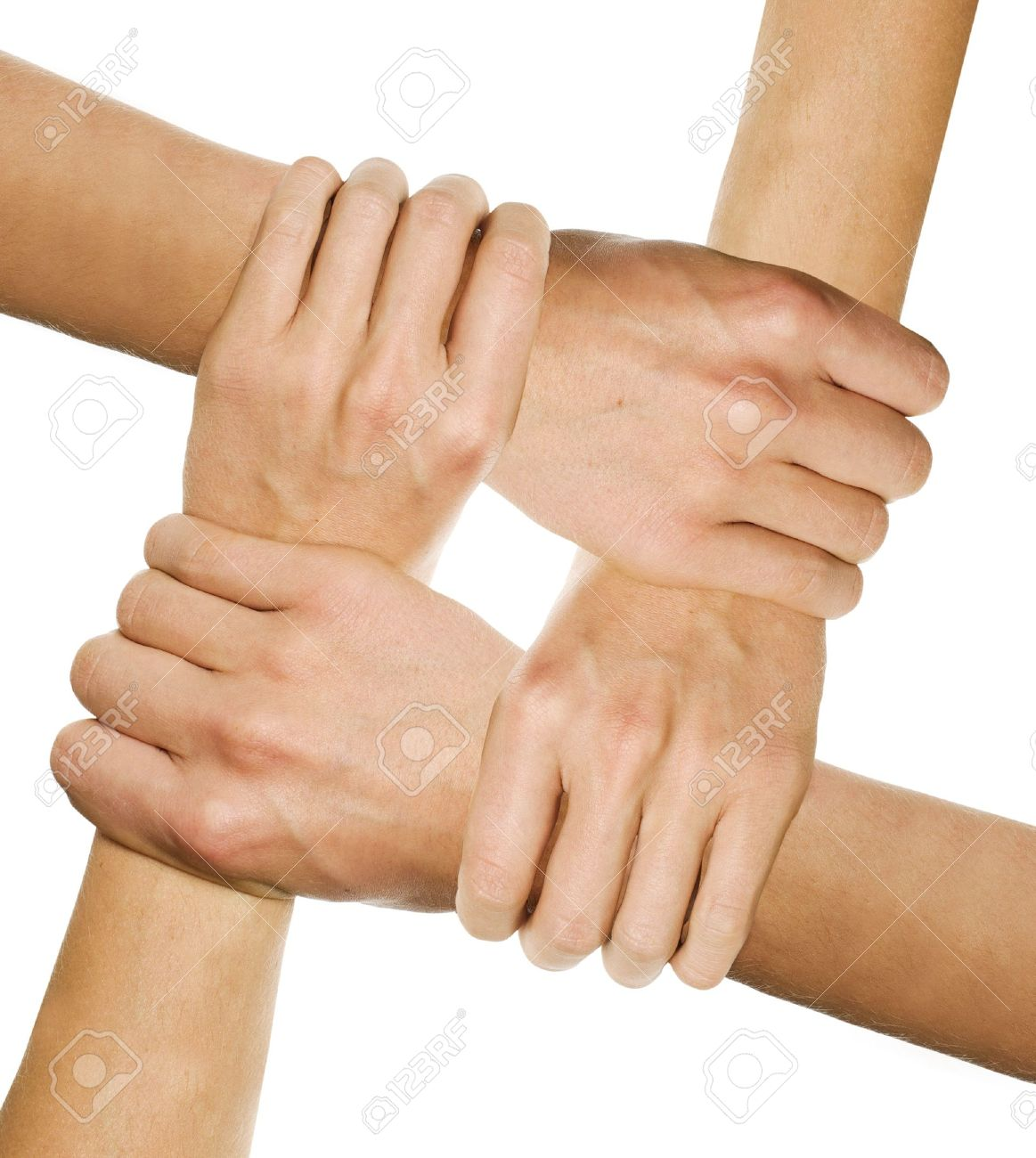 hands joined together symbolizing team spirit stock photo picture