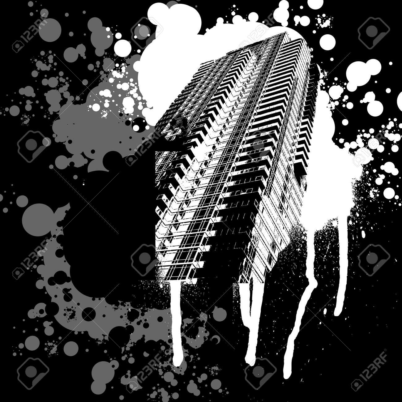 Skyscraper Black And White Graffiti Stock Vector - 2222790