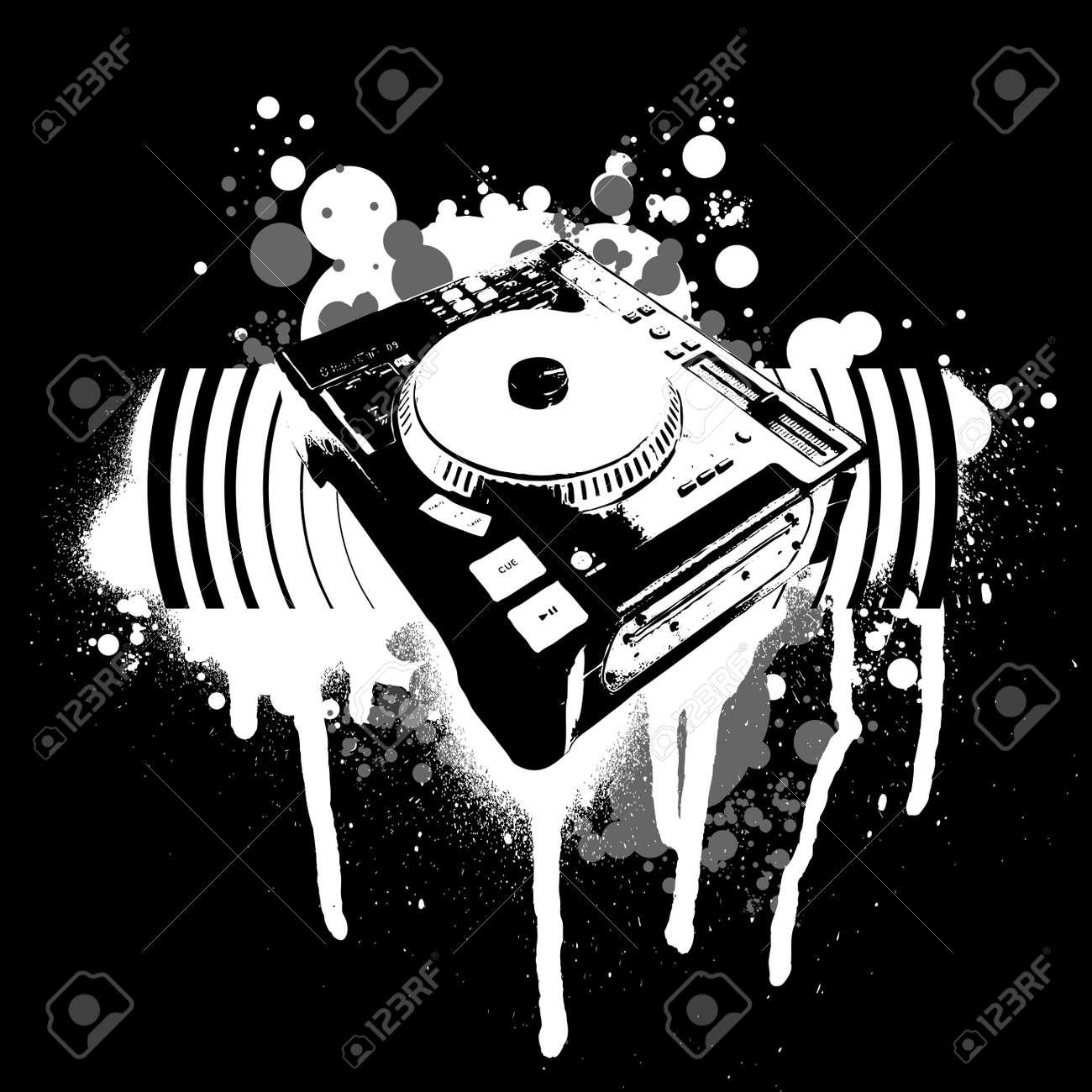 Graffiti black and white turntable stock vector 2240478