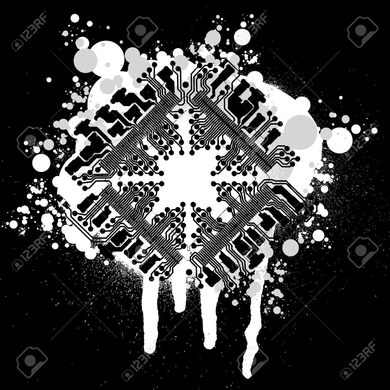 Black And White Circuit Board Graffiti Stock Vector - 2240490