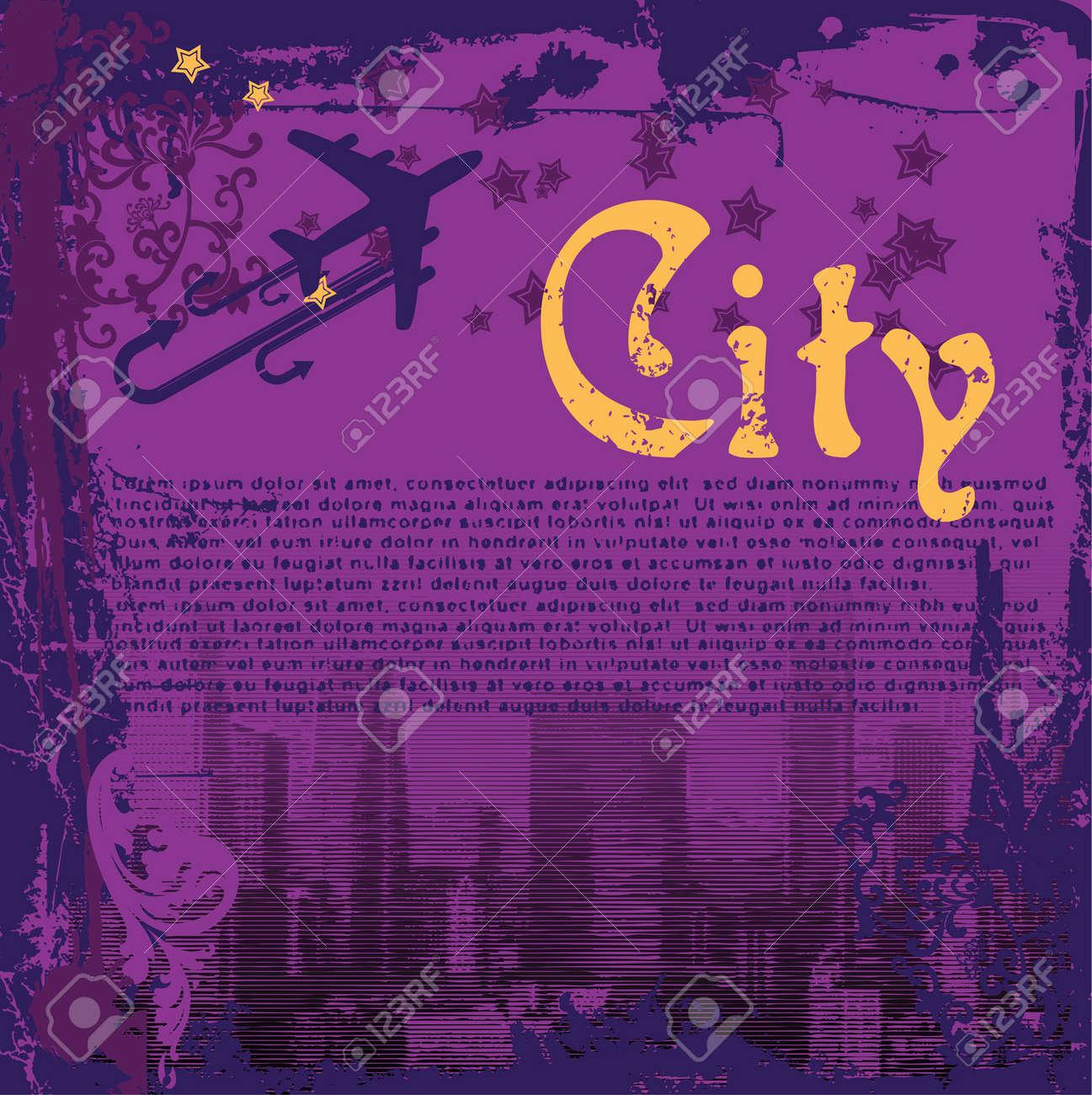 Grunge Purple City Flayer Stock Vector - 3536384