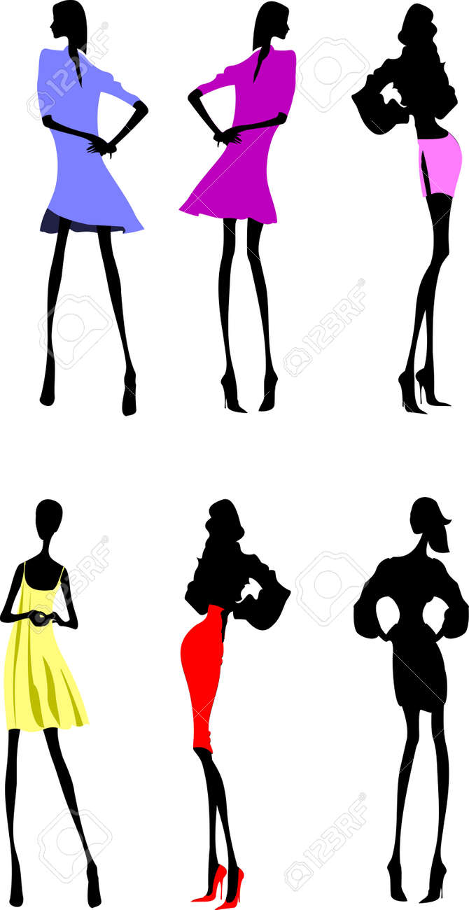 Fashion Girls Designer Silhouette Sketch Stock Vector - 4704644
