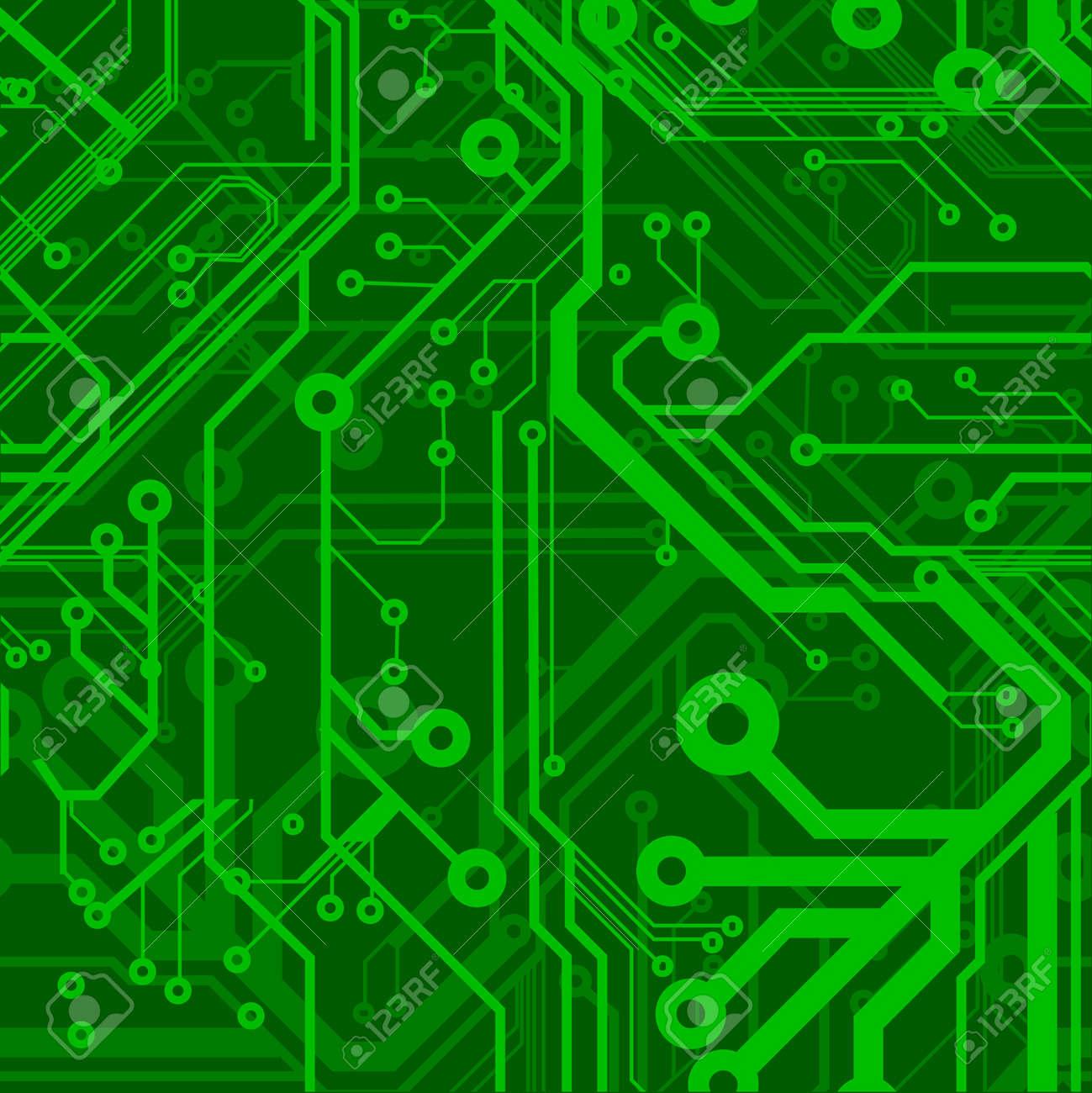 Green Seamless Printed Circuit Board Pattern Stock Vector - 4910215