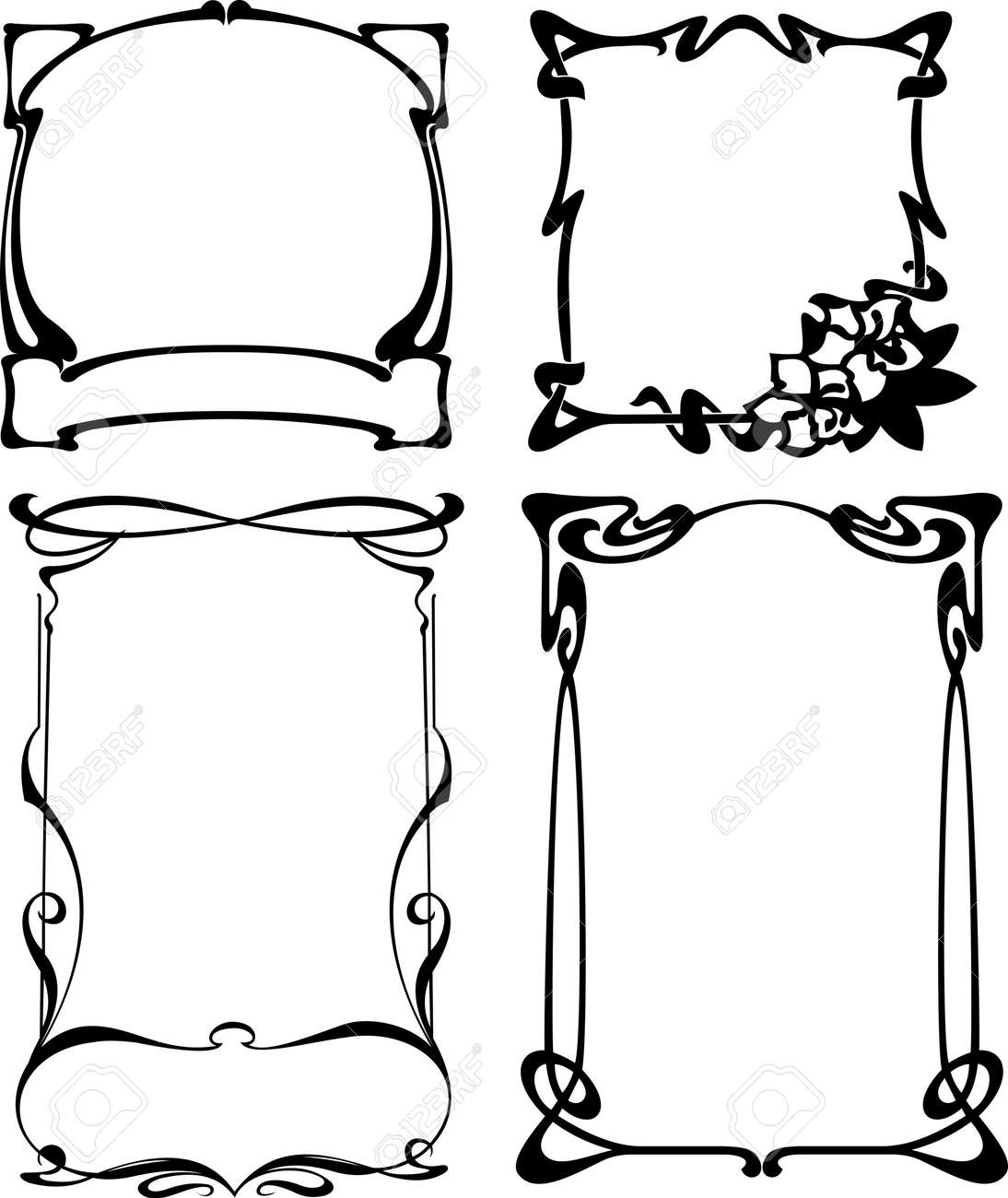Four Black And White Art Deco Frames. Others In Portfolio. Stock Vector - 6169432