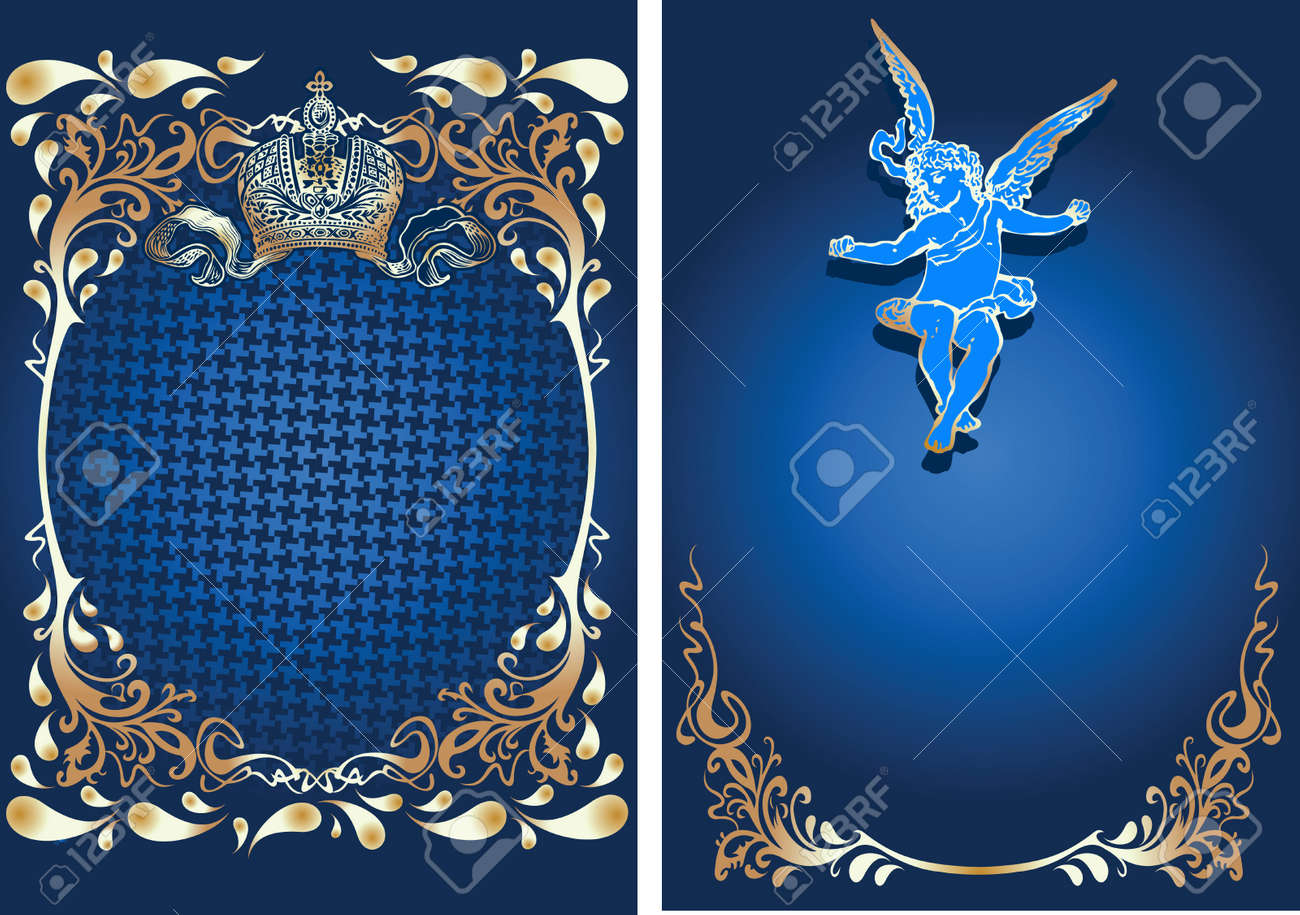 Blue And Gold Romance Ornate Banner With Cupid. Vector Illustration. Stock Vector - 8336574