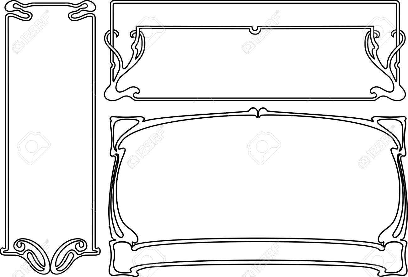 four black and white art deco frames others in portfolio stock vector 8336488