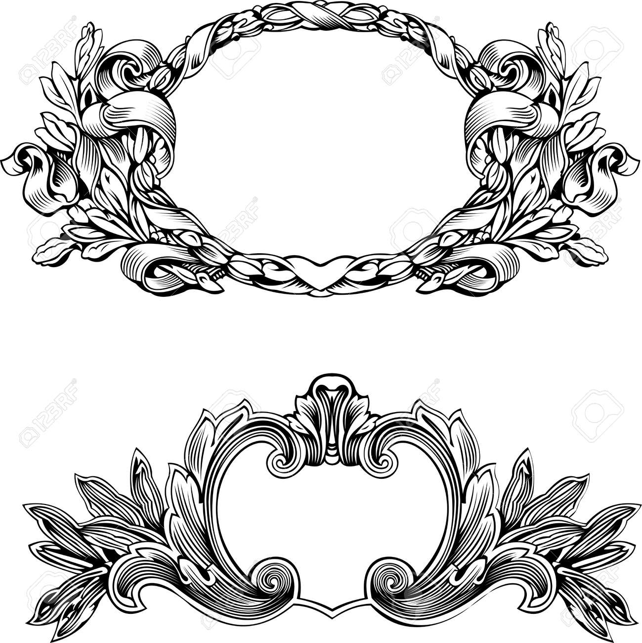 antique frame engraving scalable and editable vector illustration stock vector 8336519
