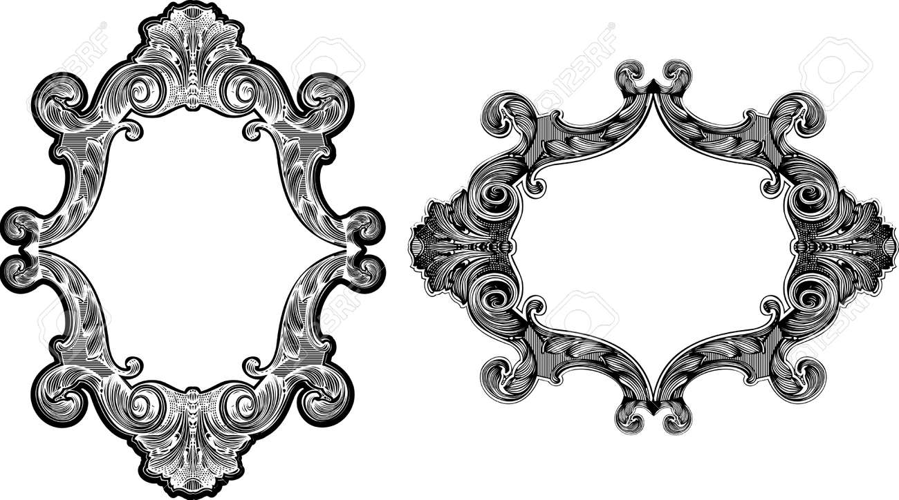 Two Black And White Baroque Art Frames Royalty Free Cliparts ...