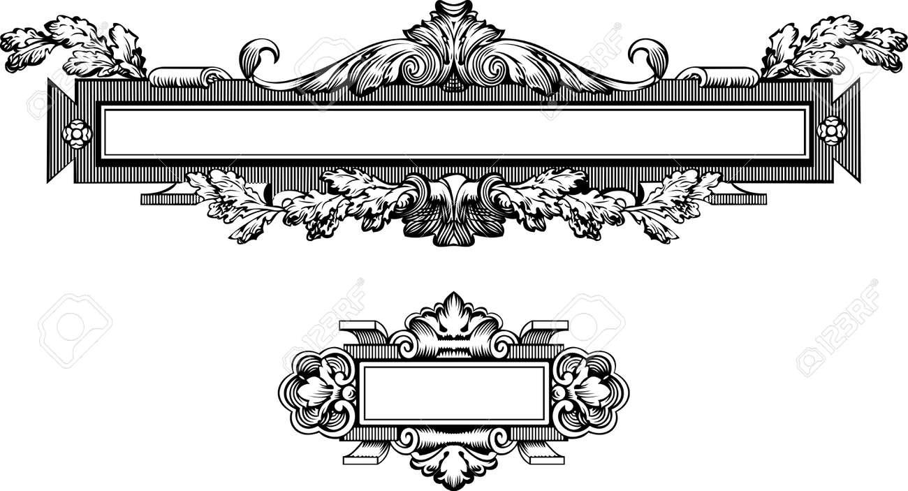アンティークの彫刻、スケーラブルかつ編集可能フレーム ベクトル