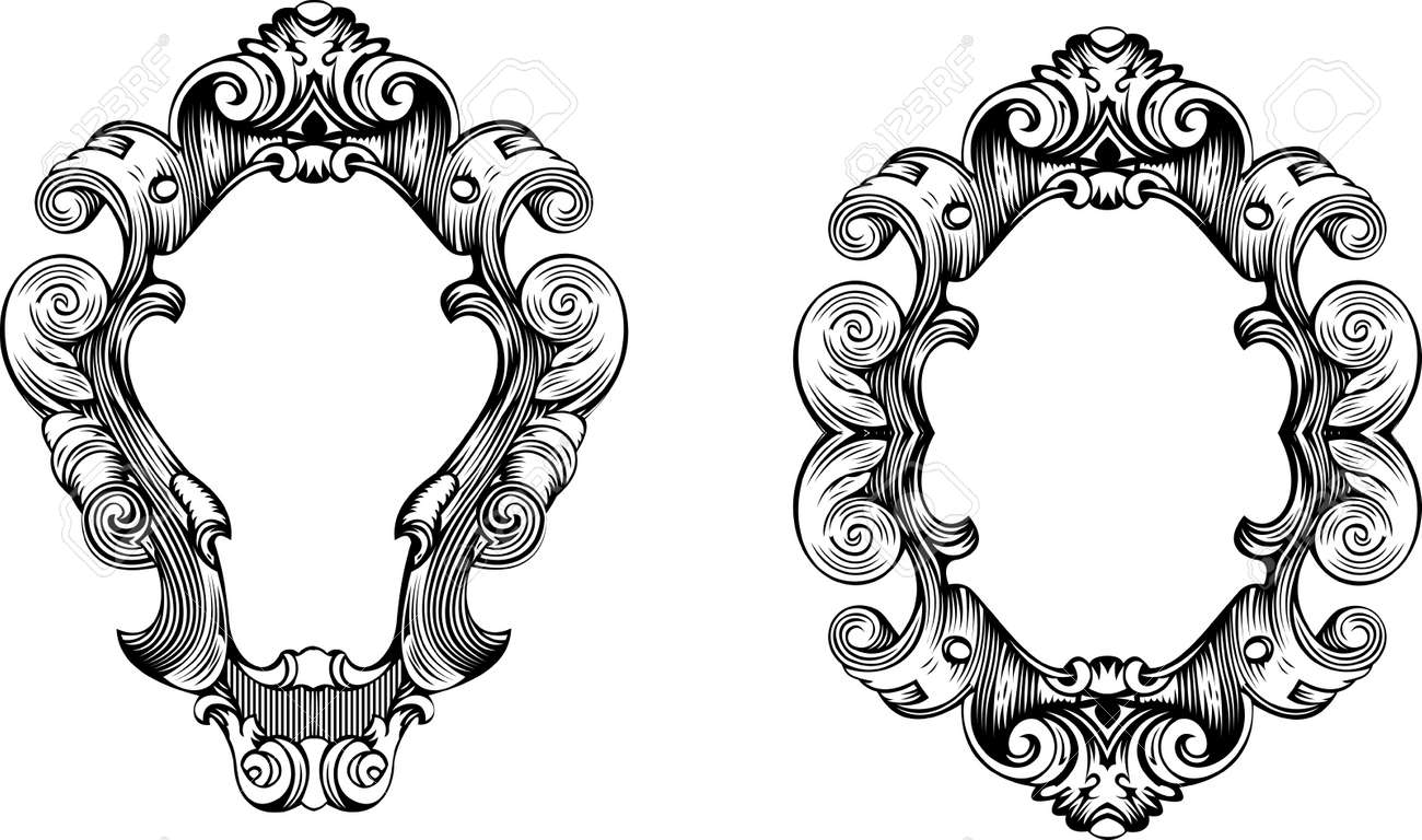 Two Elegant Baroque Ornate Curves Engraving Frames Royalty Free ...