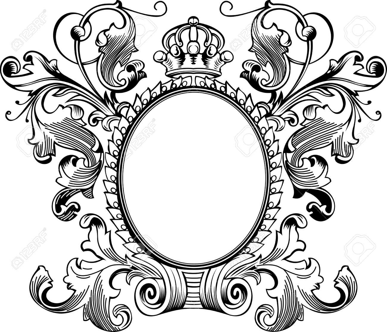antique frame engraving scalable and editable vector illustration stock vector 8336523
