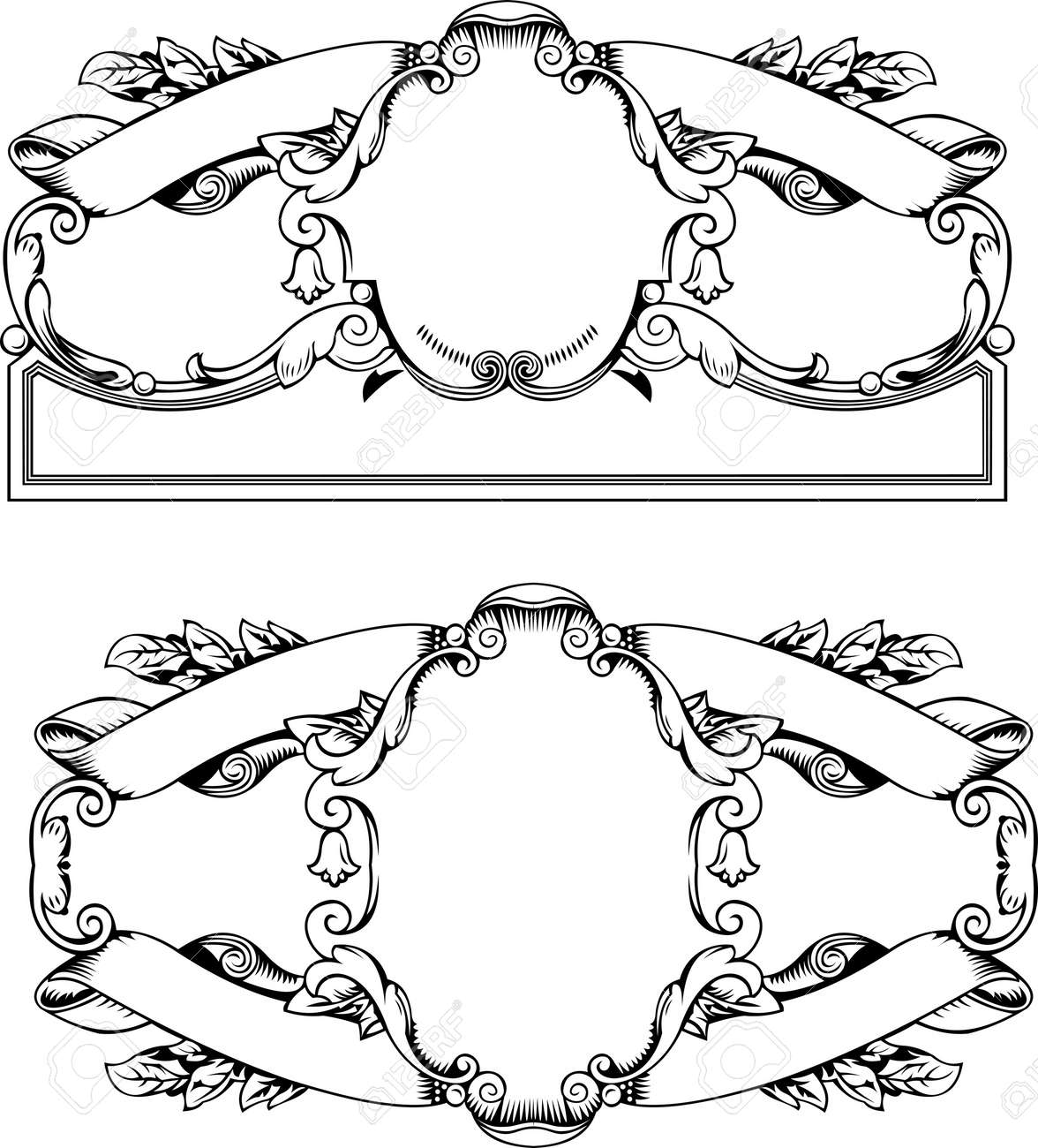 Antique Frames And Banners  Engraving, Scalable And Editable Illustration Stock Vector - 8878205