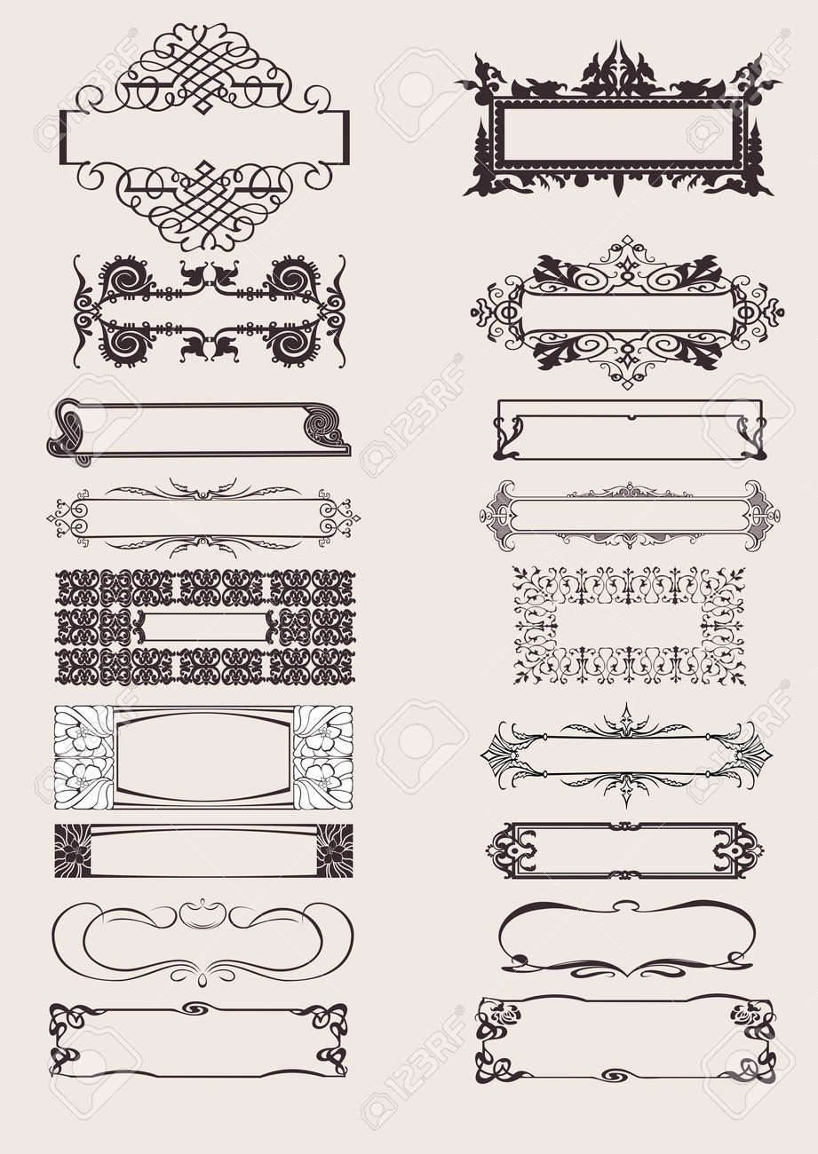 Set Of Frames Ornament Elements In Antique Style. Stock Vector - 8878228