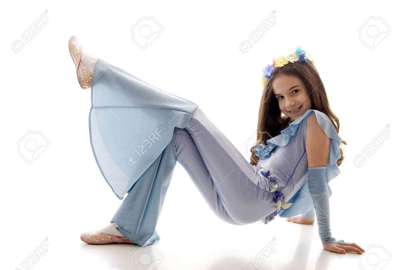 Pretty Hippy Little Girl Sitting On The Floor Stock Photo - 9313110