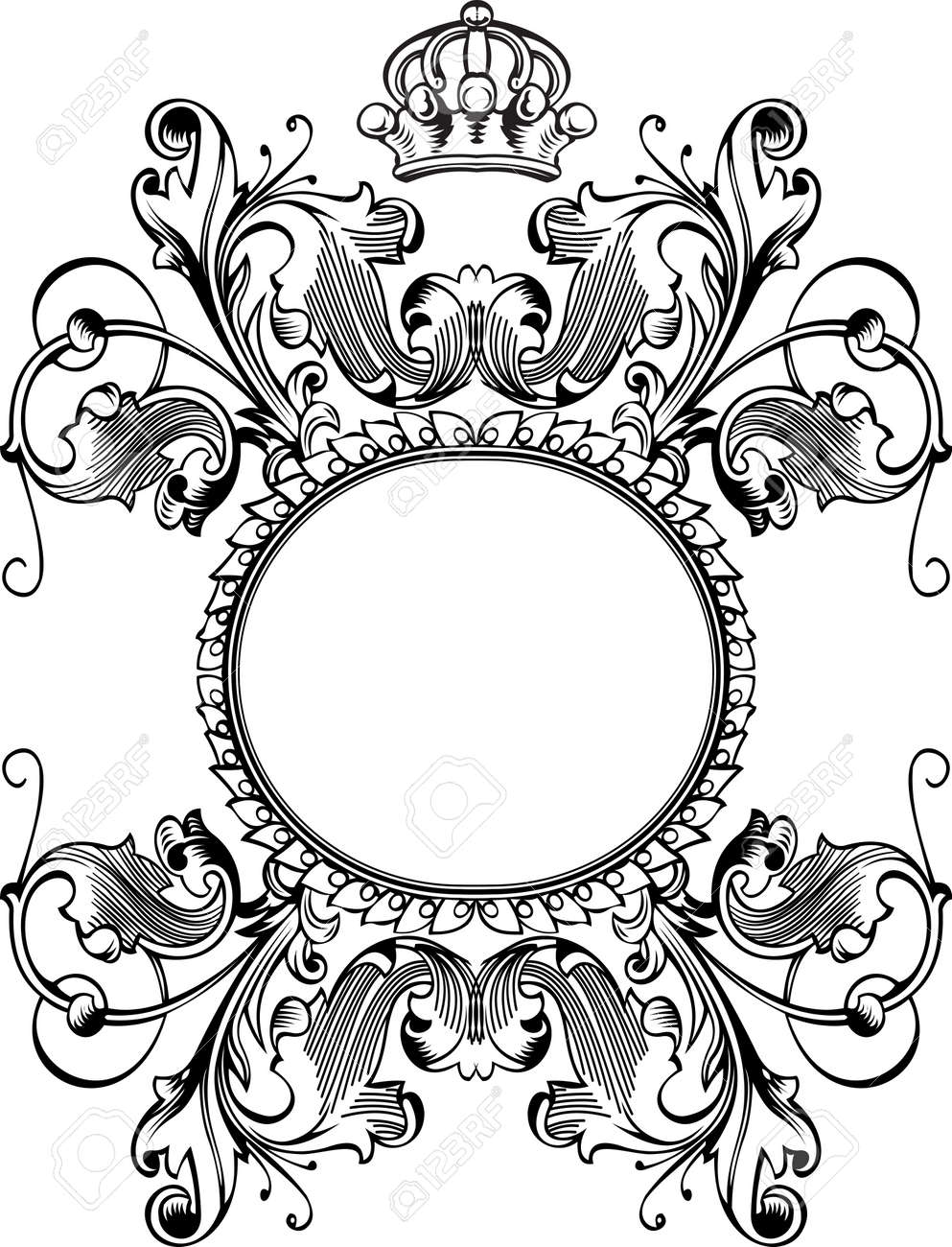 One Color Royal Crown Vintage Curves Banner Stock Vector - 9934850