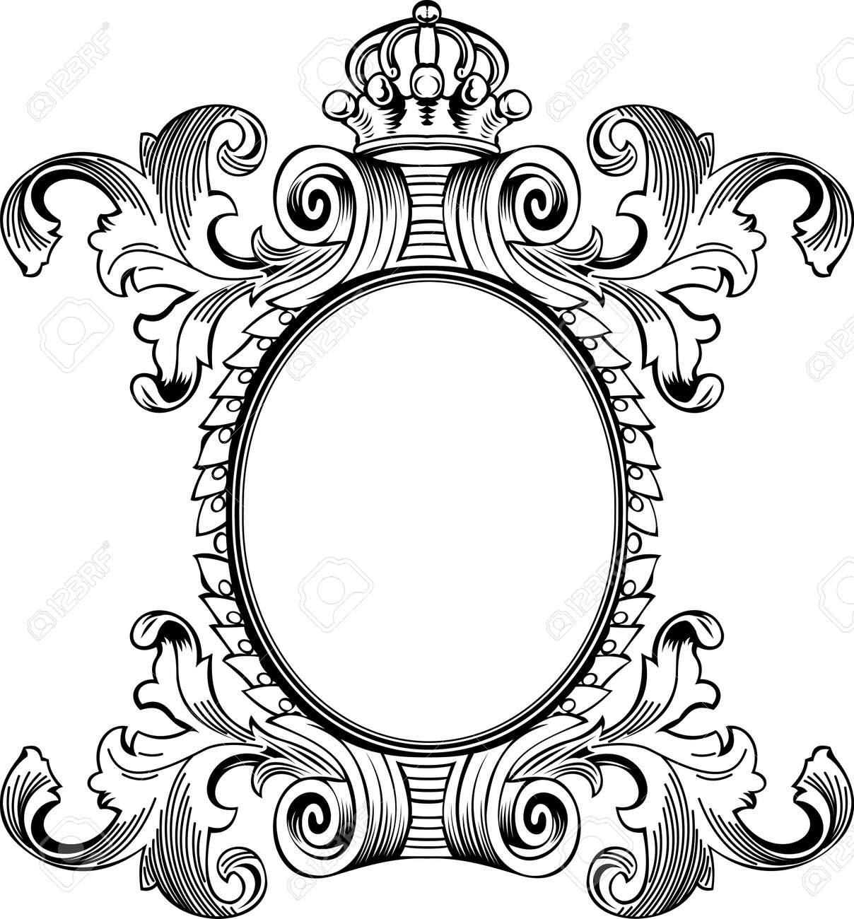 antique frame engraving scalable and editable vector illustration stock vector 9934835