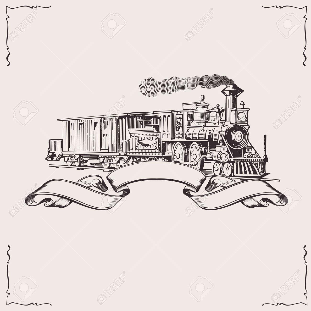 Vintage Locomotive Banner. Vector illustration. - 10704188