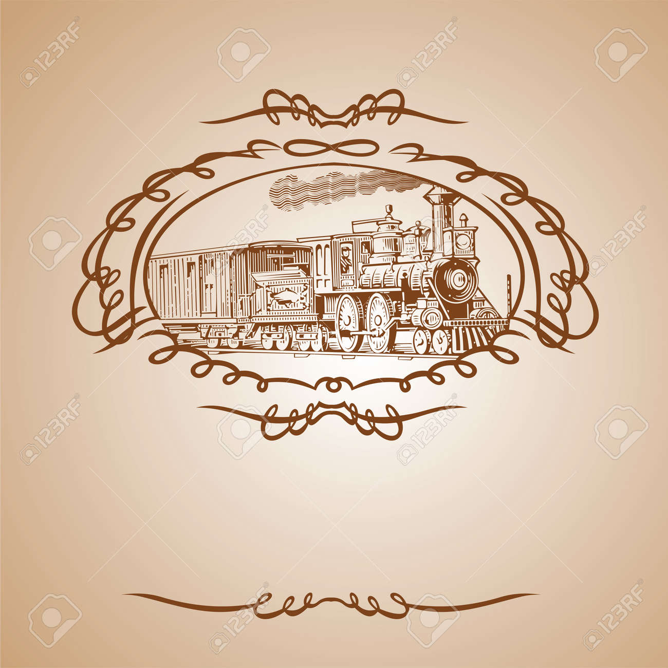 Old Train Brown Banner - 10704184