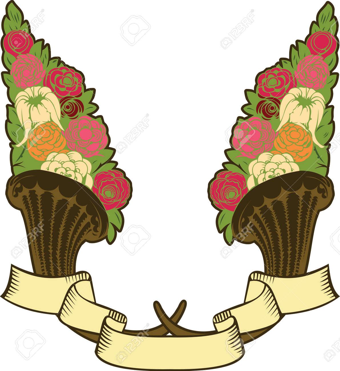 vintage horn of plenty, flowers and banner Stock Vector - 13634400