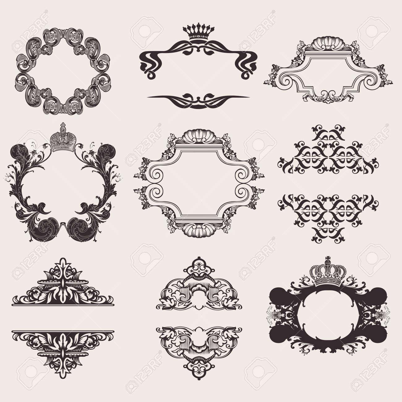 Set Of Nine Ornate Banner Quad Stock Vector - 13635203