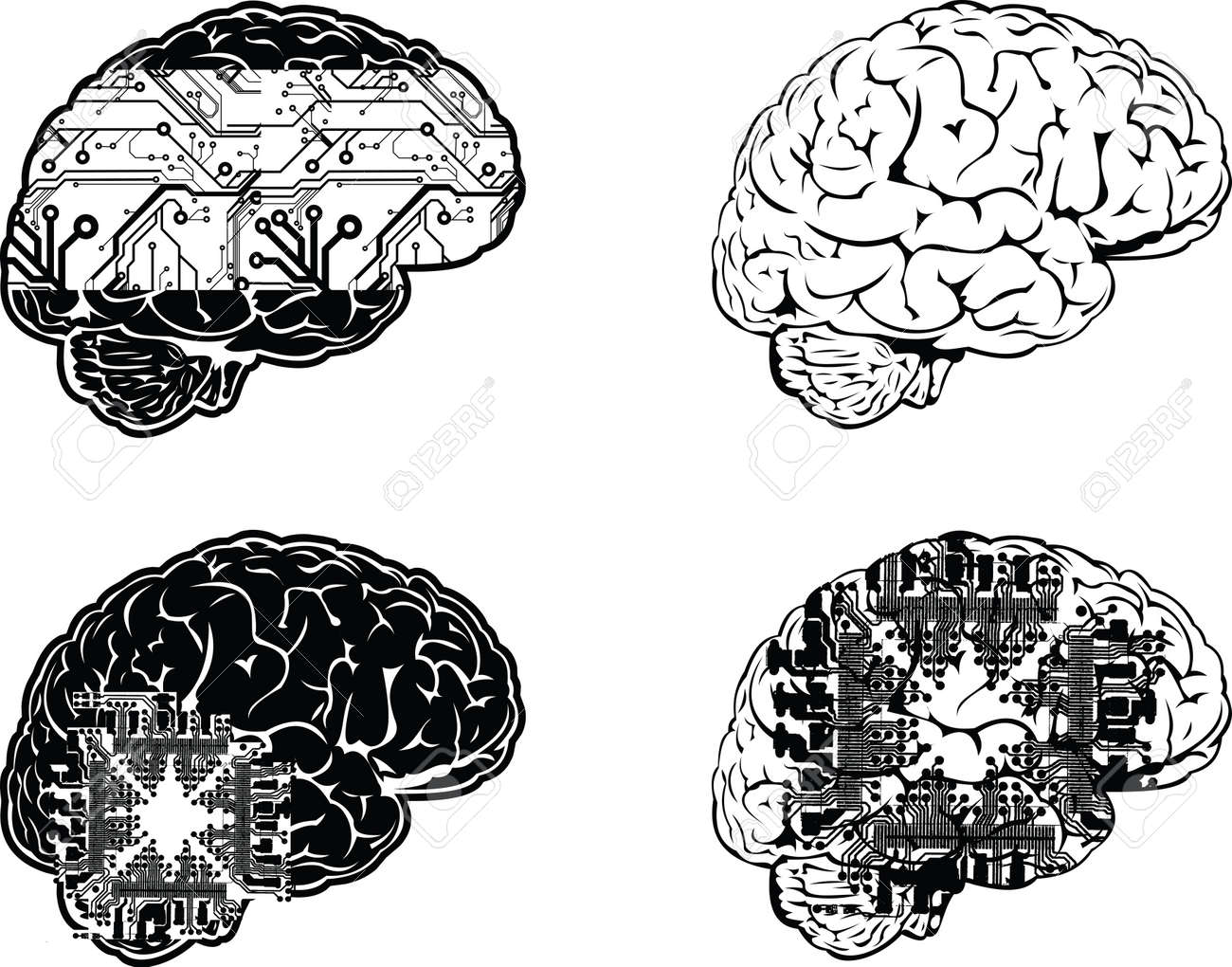 Set Of Four One Color Electronic Brain Side View. Stock Vector - 13635209