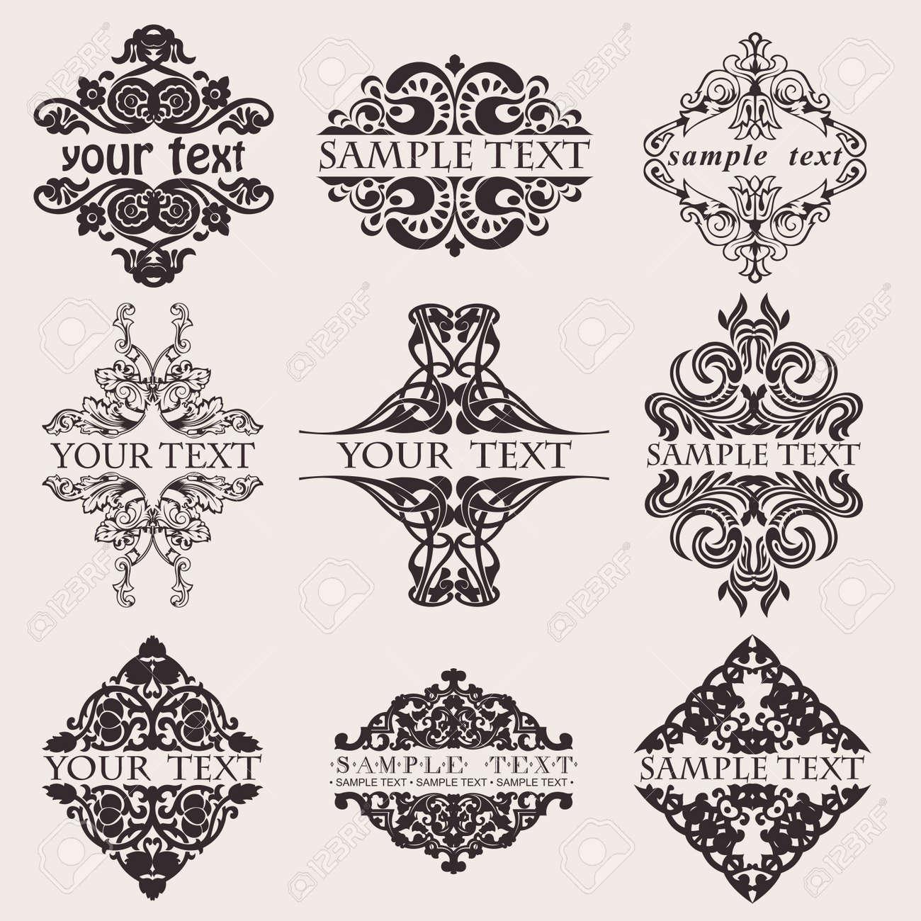 Set Of Nine Ornate Banner Text Quad - 13635195