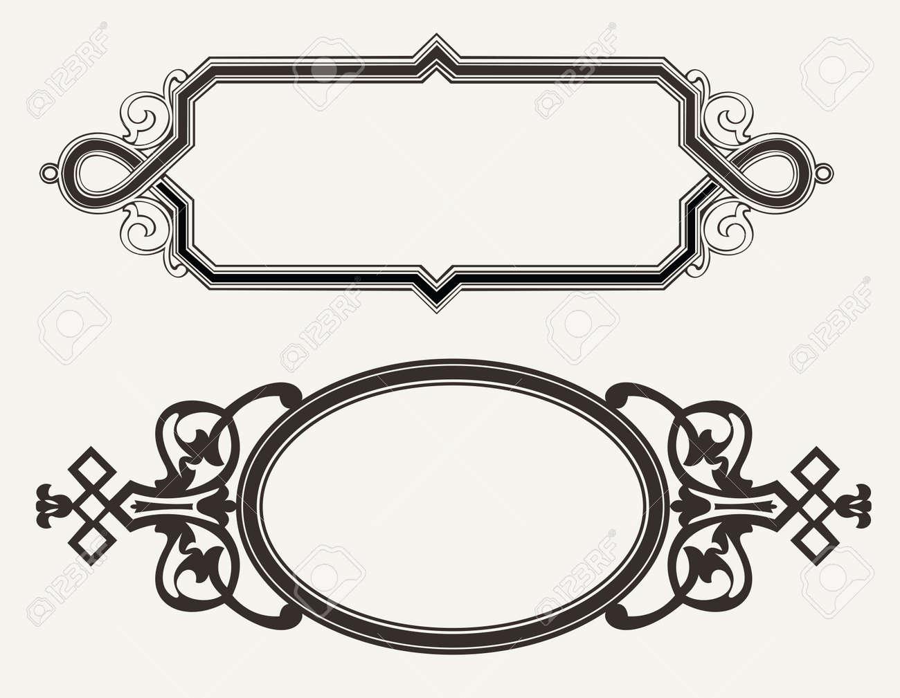two vintage ornate engraving frames stock vector 18150402