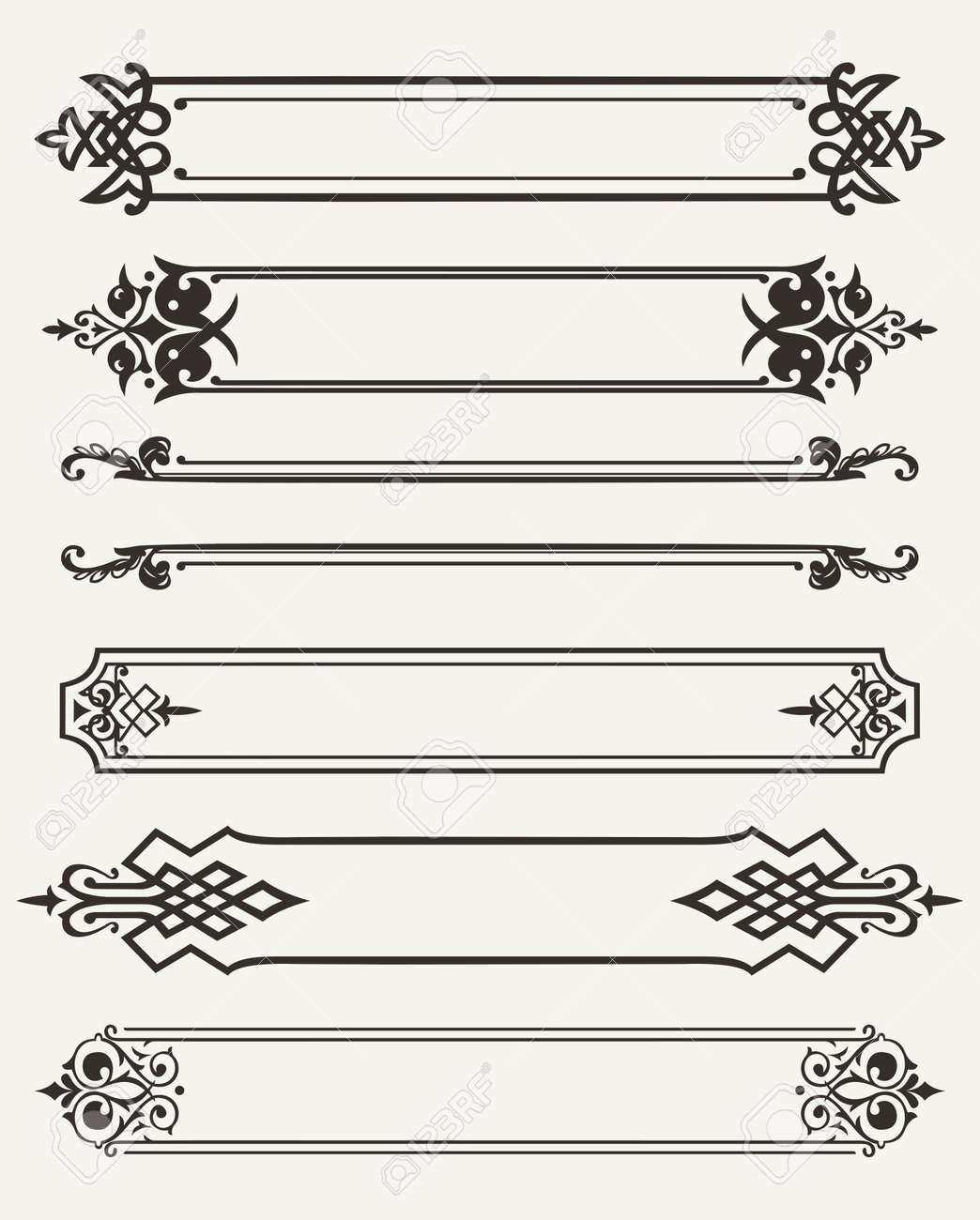 set of retro antique frames engraving stock vector 22296309