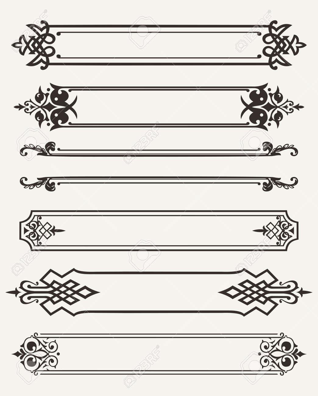 Set Of Retro Antique Frames Engraving Royalty Free Cliparts, Vectors ...