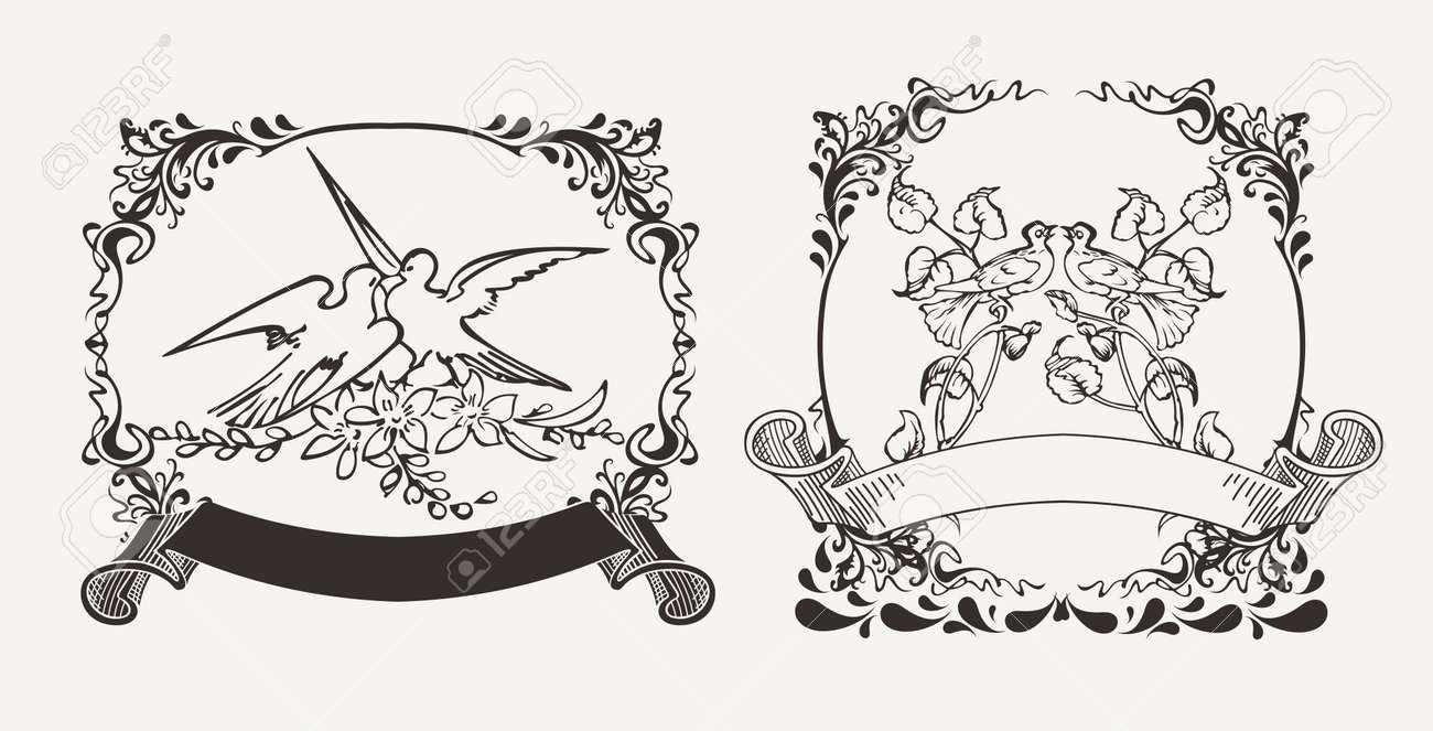 Set Of Two Romantic Doves Compositions Stock Vector - 22296423