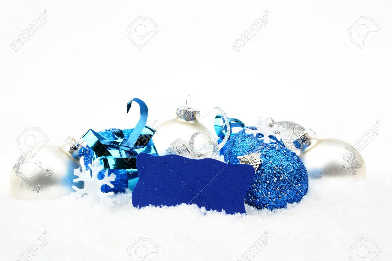 Christbaumkugeln Blau Silber.Stock Photo