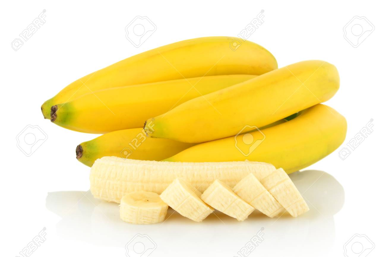 Bunch Of Few Bananas With Peeled Slices Banana On White Background